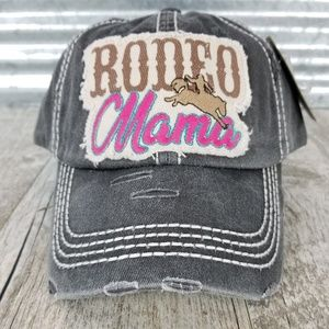 Distressed Black 'Rodeo Mama' Ball Cap Adjustable
